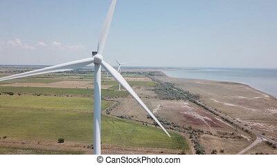 closeup, énergie éolienne, turbine
