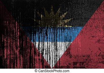 closeup., オイル, 汚い, 壁, 背景, アンチグア, barbuda, 古い, textured, 樽, 旗...