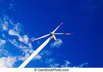 closeup., タービン, 力, 風, 青, clouds., 空, 植物, 空中写真