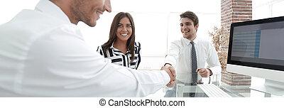 closeup., パートナー, ビジネス, 握手
