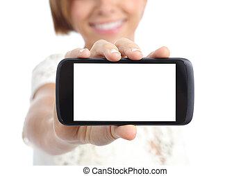 closeup, 在中, a, 女孩, 手, 显示, a, 水平, 空白, smartphone, 屏幕