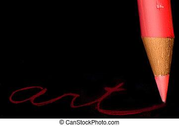"closeup, 在中, a, 红, 彩色的铅笔, 作品, \""art\"""