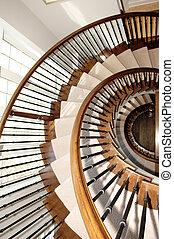closeup, 在中, a, 绕行, 楼梯, 结束, 三, floor's