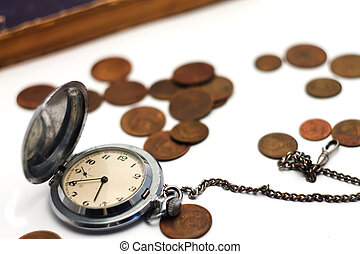 closeup, 老, 背景, 硬币, 怀表, 弄污
