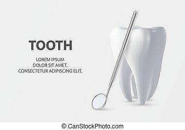closeup, 3d, concept, dent, vecteur, dentaire, blanc, tool., template., bannière, arrière-plan., icône, dents, santé, monde médical, inspection, plackard., dentiste, miroir, conception, réaliste