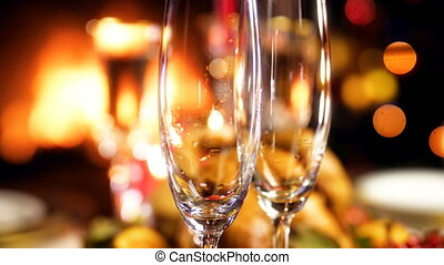 Closeup 4k footage of empty glasses of champagne on...