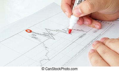 Closeup 4k footage of financial writing with red marker on...