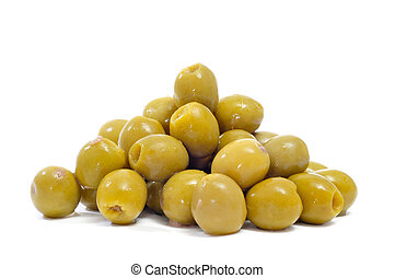 spanish pitted olives - closeup a pile of spanish pitted ...