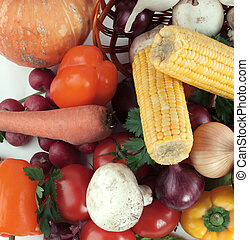 closeup. a variety of fresh vegetables in a wicker baske