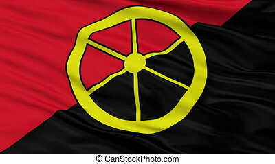 Closeup Aalburg city flag, Netherlands - Aalburg closeup...