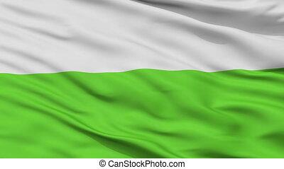 Closeup Aalten city flag, Netherlands - Aalten closeup flag,...