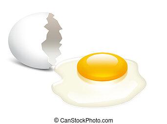 closeup, achtergrond, de dooier van het ei, witte