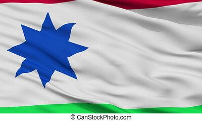 Closeup Achtkarspelen city flag, Netherlands - Achtkarspelen...