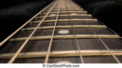 closeup, acoustique, fretboard, détail, guitare