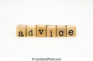 advice wording isolate on white background - closeup advice...