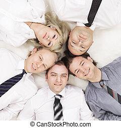 .closeup, affari, isolato, team., white., vicino-lavora maglia