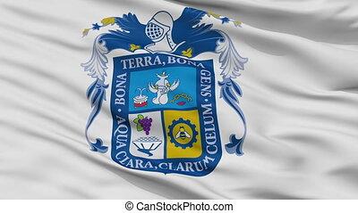 Closeup Aguascalientes city flag, Mexico - Aguascalientes...