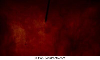 closeup, aiguille, couleurs, -, rouges