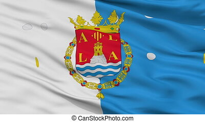 Closeup Alicante city flag, Spain - Alicante closeup flag,...