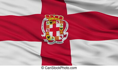 Closeup Almeria city flag, Spain - Almeria closeup flag,...