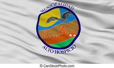 Closeup Alto Hospicio city flag, Chile - Alto Hospicio...
