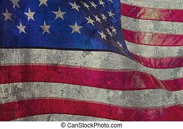 closeup, américain, grunge, drapeau