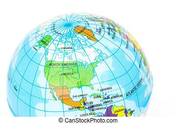 Closeup America of Globe model