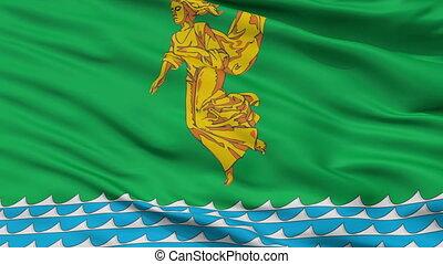 Closeup Angarsk city flag, Russia - Angarsk closeup flag,...