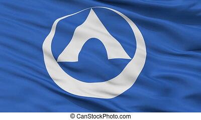 Closeup Annaka city flag, prefecture Gunma, Japan - Annaka...