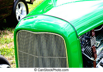 closeup, antieke auto, grill, achtergrond