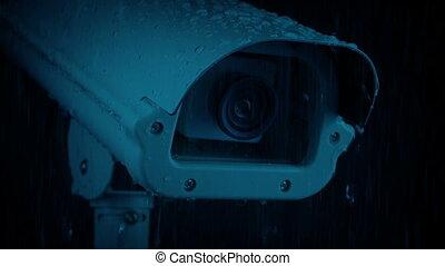 closeup, appareil photo, cctv, pluie, nuit