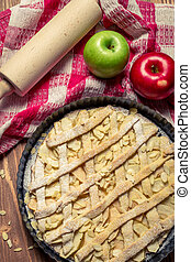 Closeup apple pie with fresh ingredients