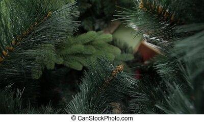 closeup, arbre artificiel, noël