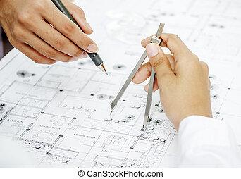 closeup, architekt, siła robocza
