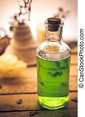 Closeup of aromatic massage oil - an element of wellness