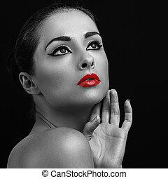 Closeup art woman portrait. Red lipstick. Black and white.
