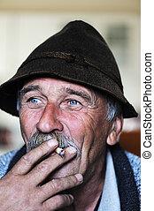 closeup, artistique, gris, homme photo, vieilli, fumer, moustache, cigarette