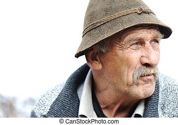 closeup, artistique, photo, de, vieilli, homme, à, gris,...