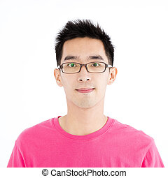 closeup, asiático, homem jovem, enfrente retrato