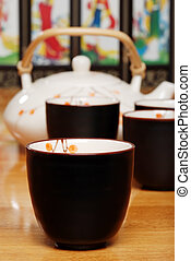 closeup asian tea cup with set