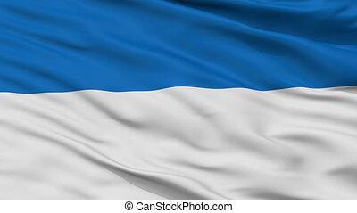 Closeup Assen city flag, Netherlands - Assen closeup flag,...