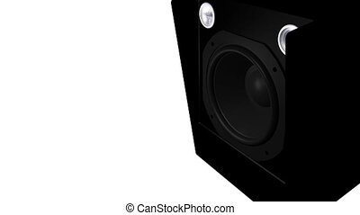 Closeup at moving sub-woofer. Speaker part. HD 1080 video
