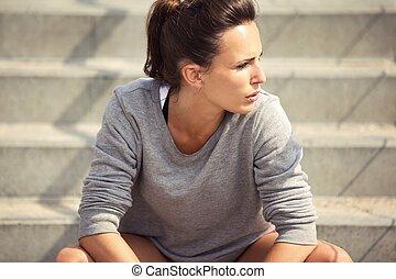 closeup, atleta, focalizado, jovem, femininas