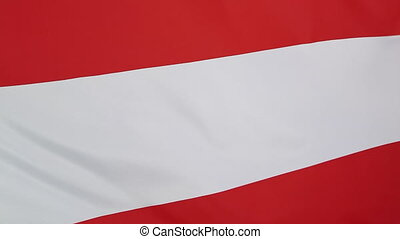 Closeup Austrian flag, slow motion