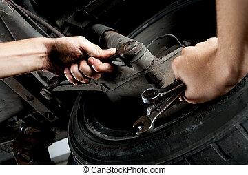closeup, auto, hände, mechanik, arbeitende , maulschlüssel, ...