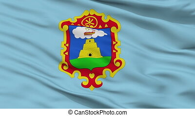 Closeup Ayacucho city flag, Peru - Ayacucho closeup flag,...