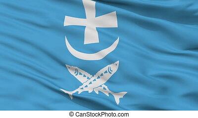 Closeup Azov city flag, Russia - Azov closeup flag, city of...