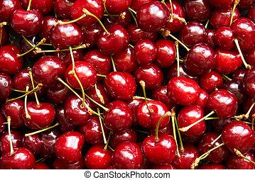 Background top view of cherries