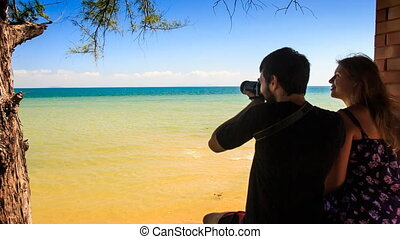 Closeup Backside Guy Girl Stand by Wall Admire Sea Take...