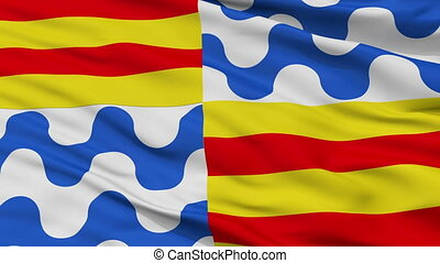Closeup Badalona city flag, Spain - Badalona closeup flag,...